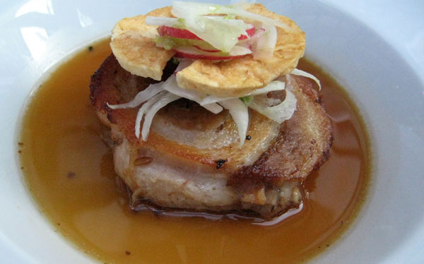 Pork belly appetizer, Waterfront Restaurant & Wine Bar in Kelowna, British Columbia, Canada