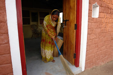 A daily sweep, Friends of Orchha home stay in Madhya Pradesh, India