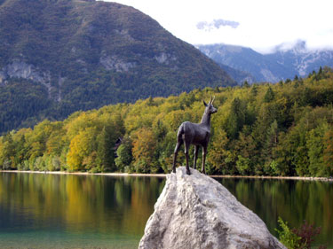 Zlatorog statue, Lake Bohinj in Triglav National Park, Slovenia
