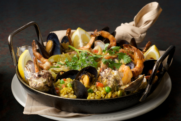 Organic paella, Vineyards Inn in Kenwood, Calif, USA