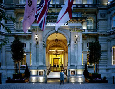 Langham London at night in London, England