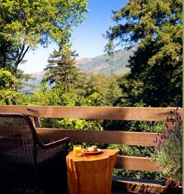 Private guestroom deck, Ventana Inn in Big Sur, Calif., USA
