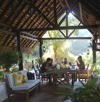 Open air dining, Hermitage Guest House in the Western Ghats, Karnataka, India