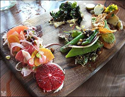 Vegan charcuterie at Gather in Berkeley, Calif., USA