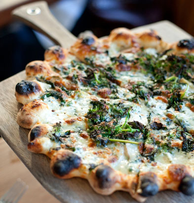 Stinging nettles pizza at Gather in Berkeley, Calif., USA