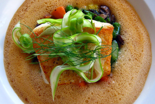 Halibut in lobster emulsion, El Dorado Kitchen in Sonoma, Calif., USA
