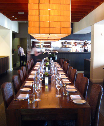 Communal table, El Dorado Kitchen in Sonoma, Calif., USA