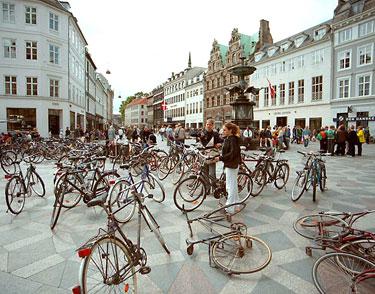 Bikes in square in Copenhagen, Denmark