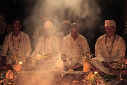 Full moon ceremony, Fivelements in Banjar Baturning, Mambal, Bali, Indonesia