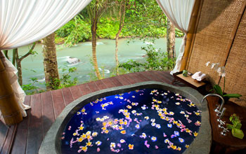 Guest suite spa tub, Fivelements in Banjar Baturning, Mambal, Bali, Indonesia
