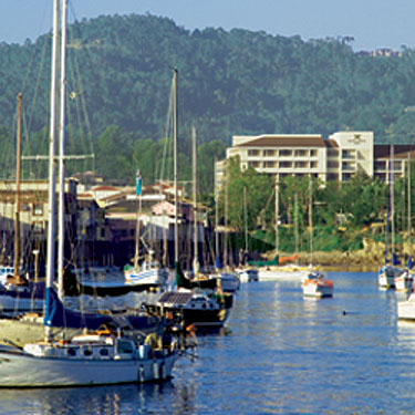 Harbor view of Portola Hotel & Spa in Monterey, Calif., USA