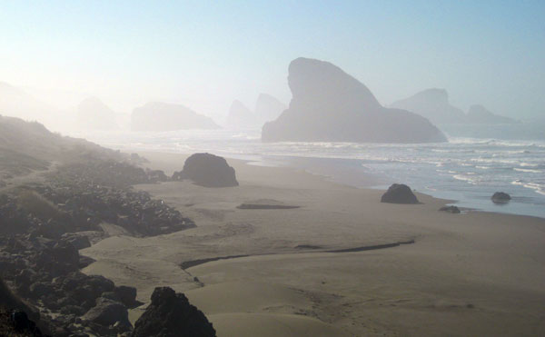Foggy Southern Oregon Coast in the Pacific Northwest, USA