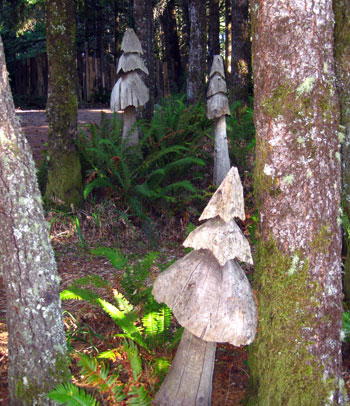 Mushroom art, WildSpring Guest Habitat in Port Orford, Ore., USA