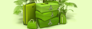 Green travel suitcases