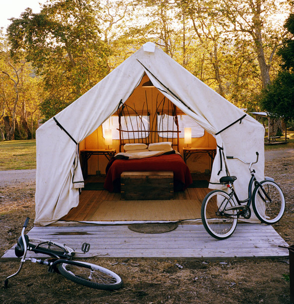 Luxury tent, El Capitan Canyon in Santa Barbara, Calif., USA