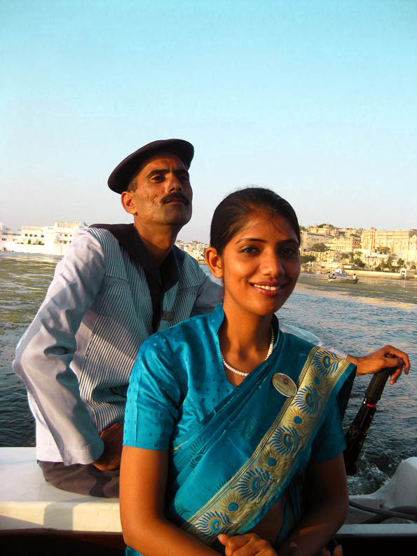 Boat crew at Taj Lake Palace in Udaipur, Rajasthan, India