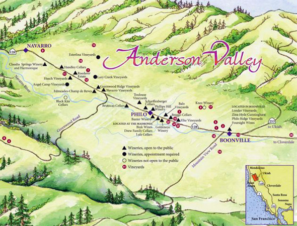 Map of Anderson Valley, America's greenest wine country