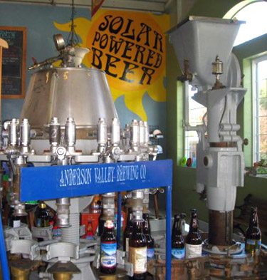 Solar-powered beer, Anderson Valley Brewing Company in the Anderson Valley, America's greenest wine country