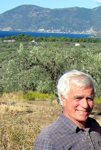 Stefanos Vallis in his olive grove, Eleonas Agrotouristic Hotel - Evia, Greece