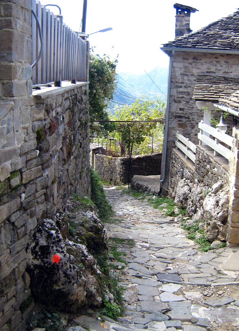 Cobblestone lanes of Mikro Papigo - Zagori region of the Pindus Mountains, Greece