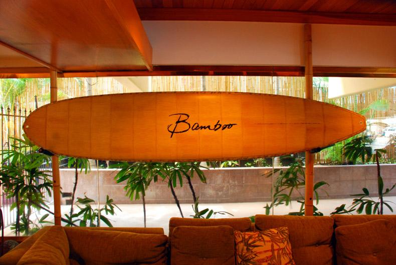 Surfboard sign, Aqua Bamboo Hotel - Waikiki, Honolulu, Hawaii, USA