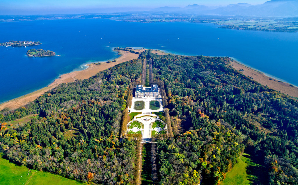 Aerial view of the palace and the nature preserve island at Herrenchiemsee.