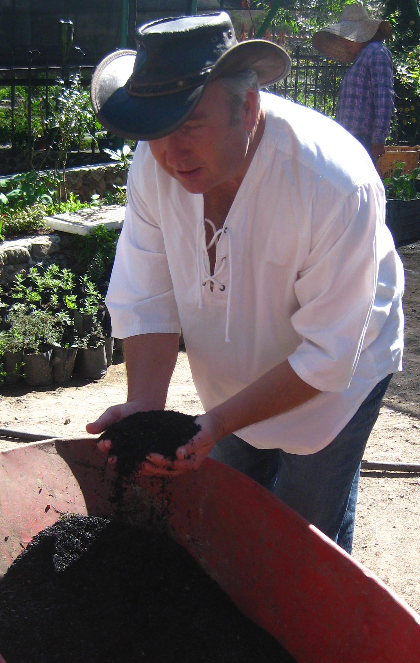 Roger D. Jones with ibiochar at Via Organica Ranch - San Miguel de Allende, Mexico