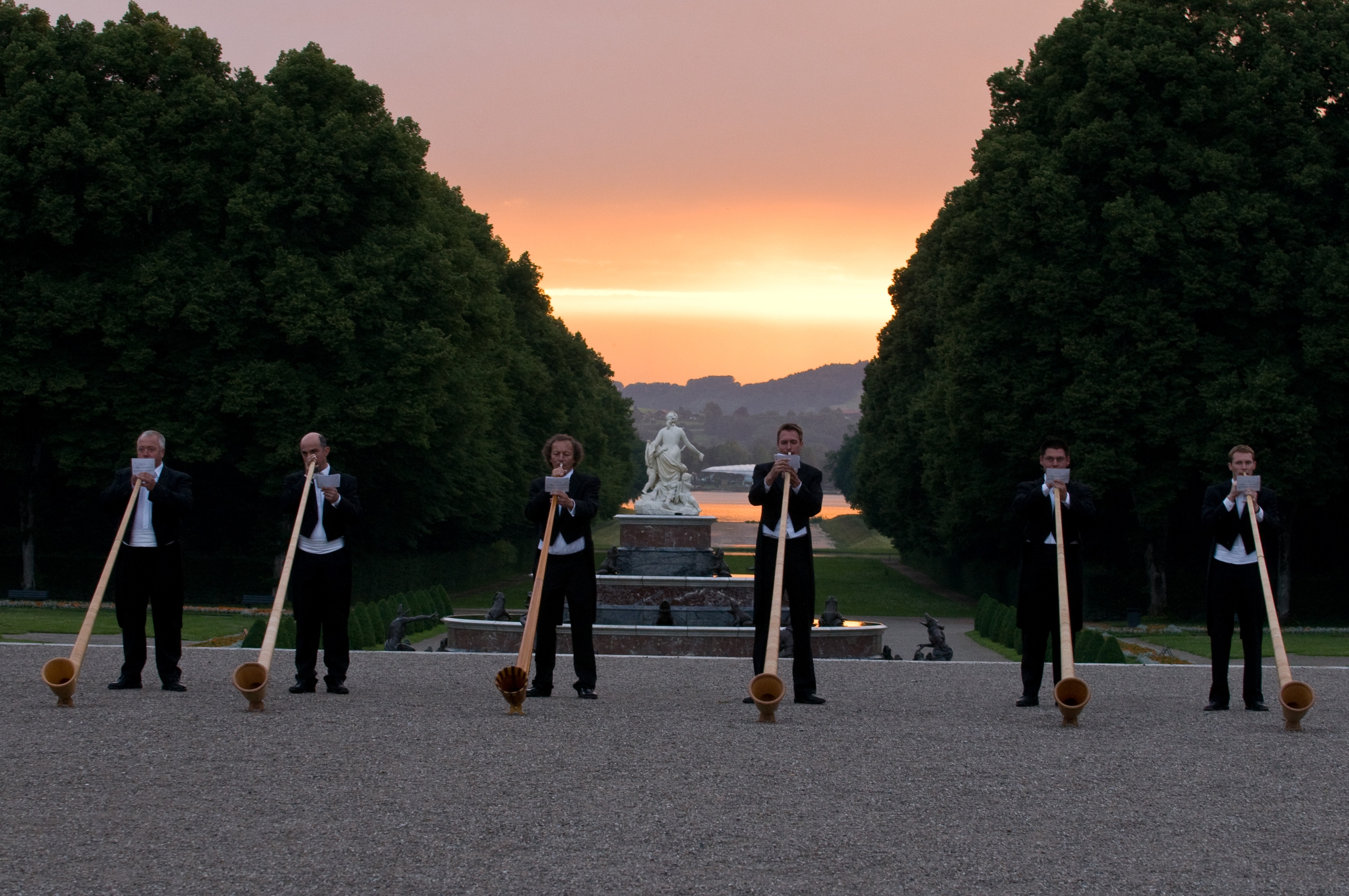 Herrenchiemsee in Germany - alpenhorns performance at intermission